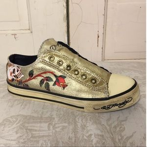 Ed Hardy Rose Skull Tattoo Sneakers